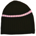 brown and pink beanie