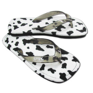 cow print thongs