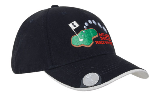 golf cap with magnetic ball marker bongo
