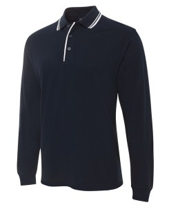 long sleeved contrast polo
