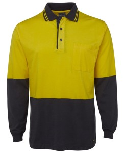 hi vis cotton long sleeved polo yellow