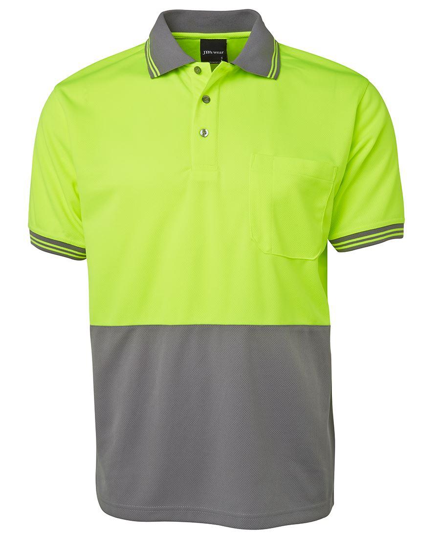 Promotional hi vis short sleeved polo shirts bongo for Hi vis polo shirts with pocket