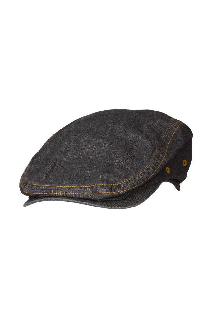 Black Denim Driver Cap