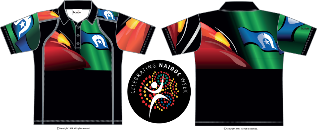 NAIDOC Indigenous Flag Polo shirt - front and back