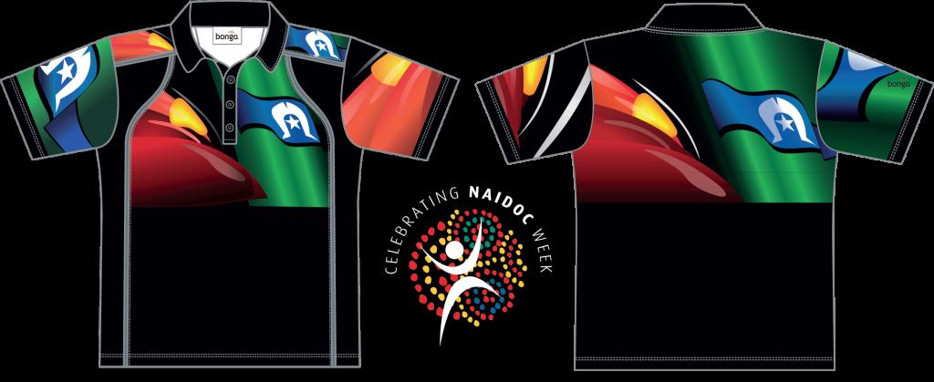 NAIDOC Indigenous Flag Polo shirt - front and back