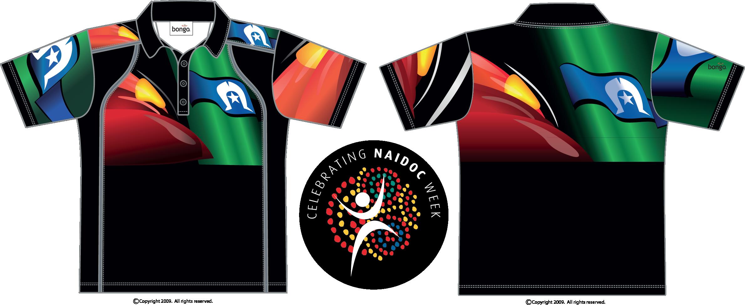 Promotional Naidoc Indigenous Flag Polo Shirt Bongo